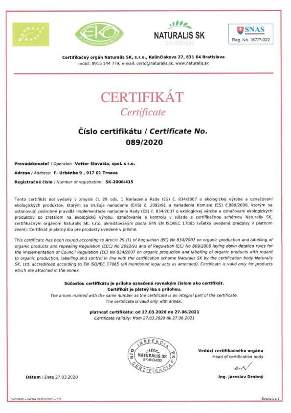 Eko Bio Certifikát Vetter Slovakia   FruTree