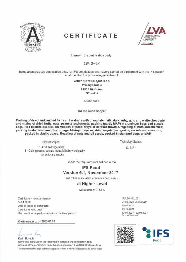 IFS FOOD Certifikát Vetter Slovakia | FruTree