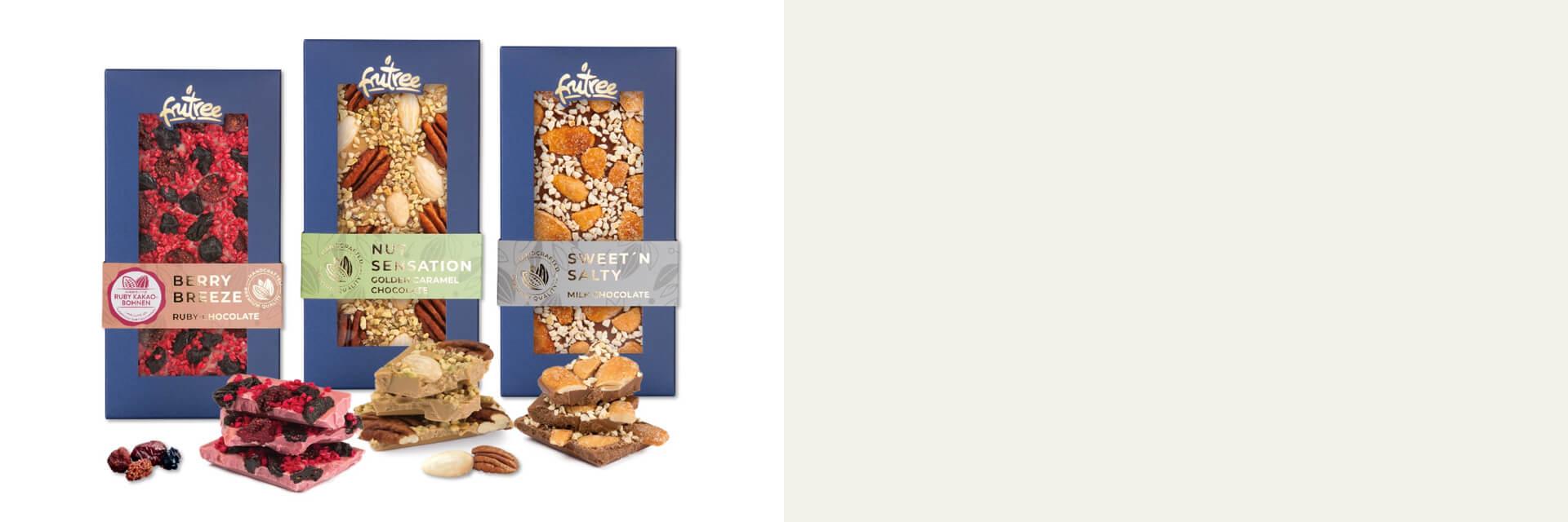 Nové výrobky z jemnej čokolády, sušeného ovocia a orechov s garanciou čistej a prirodzenej chute priamo od výrobcu FruTree