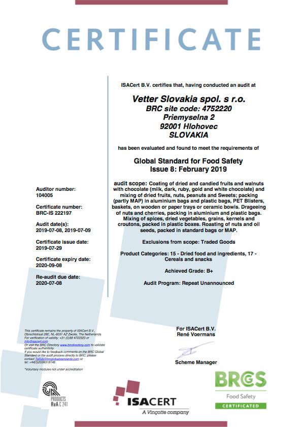 BRC Certifikát Vetter Slovakia