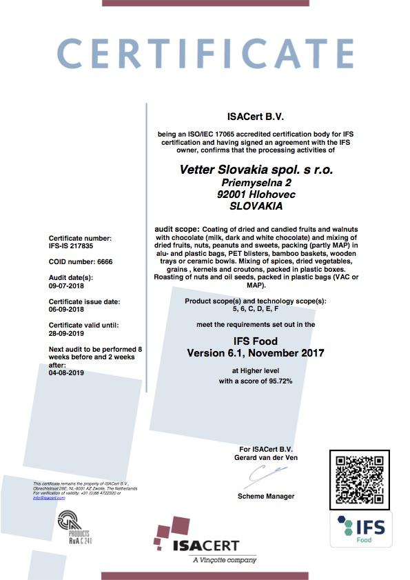IFS FOOD Certifikát Vetter Slovakia