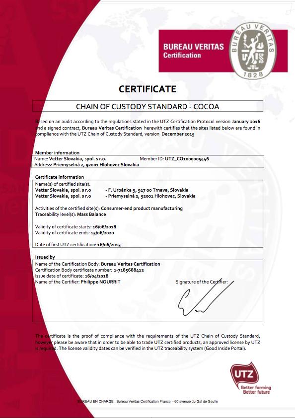 UTZ Certifikát Vetter Slovakia
